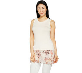 LOGO by Lori Goldstein Solid Tank with Print Chiff