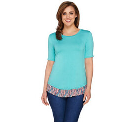 LOGO by Lori Goldstein Knit Top with Printed Chiff