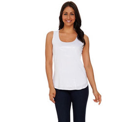 Kelly by Clinton Kelly Printed Sequin Knit Tank -