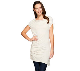 H by Halston Cowl Neck Knit Top with Side Ruching