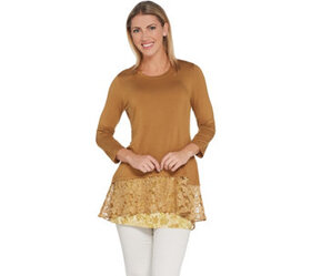 LOGO by Lori Goldstein Knit Top with Lace Band & T