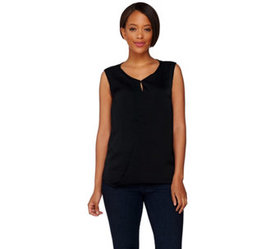 H by Halston Sleeveless Top w/ Front Keyhole Detai
