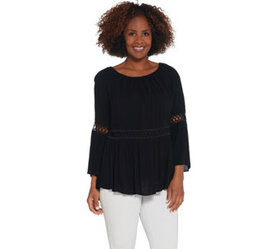 Du Jour Crinkle Gauze Bell Sleeve Top with Lace In