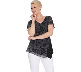 H by Halston Printed Chiffon Overlay Top w/ Flutte