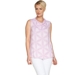 Lisa Rinna Collection Printed Collared Cowl Neck T