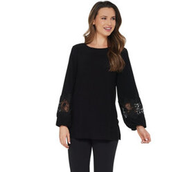 """""""As Is"""" Dennis Basso Caviar Crepe Tunic with Lace-"""
