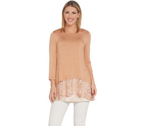 """As Is"" LOGO by Lori Goldstein Knit Top with Lace"