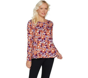 """""""As Is"""" LOGO by Lori Goldstein Printed Top with Si"""
