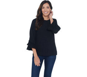 """As Is"" Denim & Co. Boatneck 3/4-Bell Sleeve Top w"