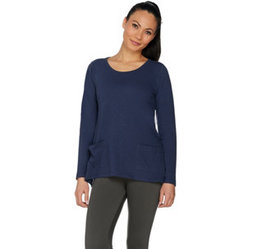 """As Is"" LOGO by Lori Goldstein Slub Knit Top with"
