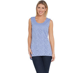 """""""As Is"""" Susan Graver Stretch Lace Peplum Sleeveles"""