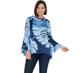 """""""As Is"""" Dennis Basso Placement Print Charmeuse Top"""