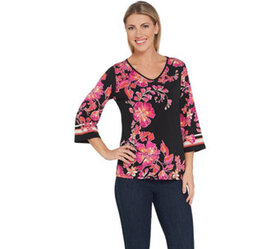 """As Is"" Susan Graver Printed Liquid Knit Top - A35"