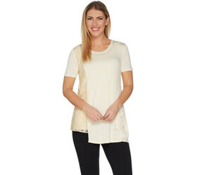 """As Is"" LOGO by Lori Goldstein Solid Knit Top with"