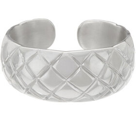 """As Is"" Italian Silver Bold Quilted Cuff Bracelet,"