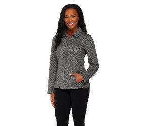 Isaac Mizrahi Live! Diamond Quilted Zip Front Knit