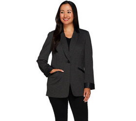 """""""As Is"""" Susan Graver Ponte Jacket with Faux Leathe"""
