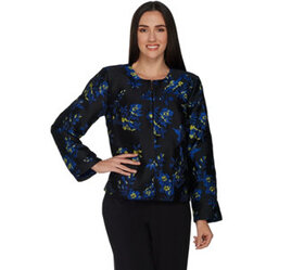 """""""As Is"""" Dennis Basso Floral Jacquard Cropped Jacke"""