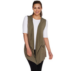 LOGO by Lori Goldstein Open Front Knit Vest with H