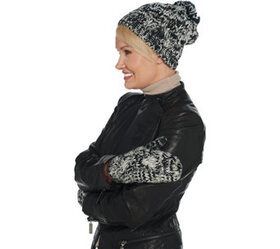 Isaac Mizrahi Live! Cable Knit Hat and Mittens Gif