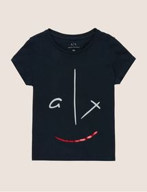 GIRLS METALLIC SMILE LOGO CREW