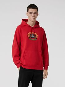 Embroidered Archive Logo Jersey Hoodie in Bright R