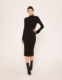 RIBBED MOCKNECK SWEATER MIDI