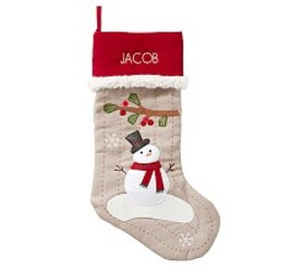 Snowman Woodland Stocking