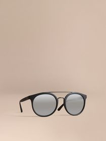 Top Bar Round Frame Sunglasses in Black
