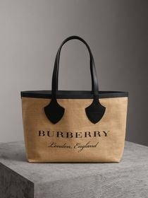 The Medium Giant Tote in Graphic Print Jute in Bla