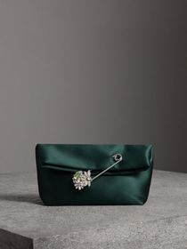 The Small Pin Clutch in Satin in Dark Forest Green