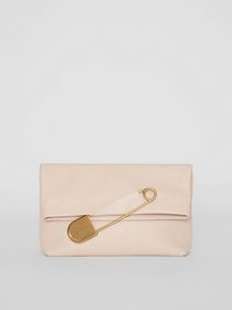 The Medium Pin Clutch in Leather in Stone
