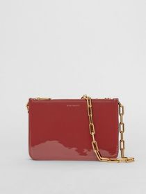 Triple Zip Patent Leather Crossbody Bag in Crimson