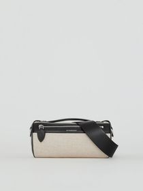 The Cotton Linen and Leather Barrel Bag in Black