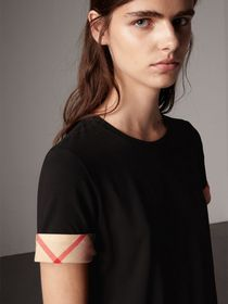 Check Cuff Stretch Cotton T-Shirt in Black