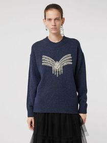 Crystal-embellished Merino Wool Sweater in Sapphir