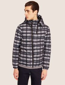 CHECKED ASYMMETRIC ZIP PUFFER JACKET