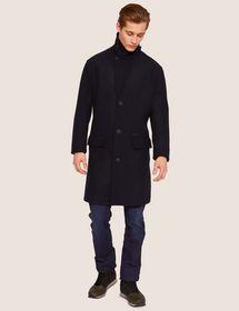 WOOL-BLEND TAB COLLAR PEA COAT