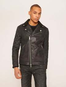 QUILTED SLEEVE FAUX-SHEARLING MOTO