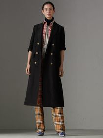 Linen Silk Tailored Coat in Black