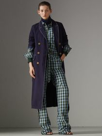Topstitched Cotton Linen Double-breasted Coat in D