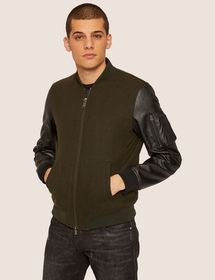 WOOL-BLEND CONTRAST SLEEVE BOMBER JACKET