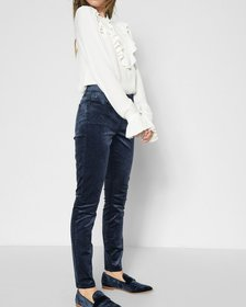 Velvet Ankle Skinny in Navy