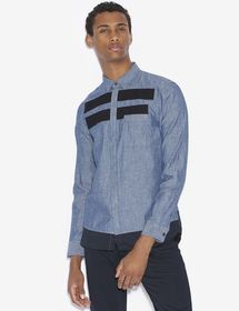 REGULAR-FIT PIECED CHAMBRAY SHIRT