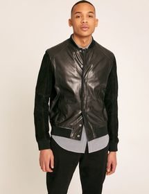 SUEDE-SLEEVE LEATHER VARSITY JACKET