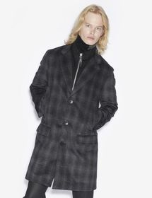 PLAID WOOL-BLEND PEA COAT