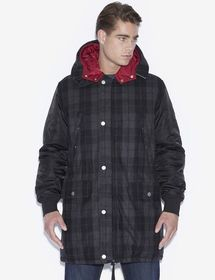HOODED PLAID WOOL-BLEND UTILITY COAT