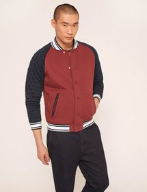LOGO-BACK COLORBLOCKED VARSITY JACKET