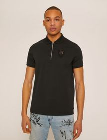 EMBELLISHED LOGO CREST ZIP-UP POLO