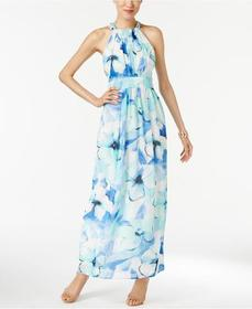 Nine West - 10636046 Floral Chiffon Maxi Dress